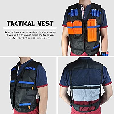 T-best Kids Tactical Vest Kit?Jacket+3pcs Reload Clips+Face Masks+1pcs Wrist Band+Protective Glasses+ 20pcs Foam Bullet Clip for Nerf Guns N-Strike Elite Series Children Game