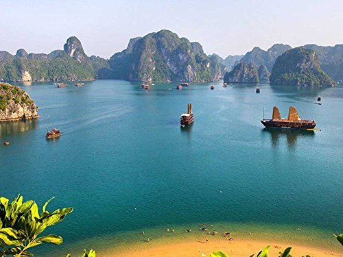 Vietnam Halong Bay Islands Asia The Orient -Oil Painting On Canvas Modern Wall Art Pictures For Home Decoration Wooden Framed (12X16 Inch, Framed)