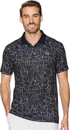 Lacoste Men's Sport Novak Djokovic Short Sleeve Ultra Dry Polo W/All Over Net Print & Ergnomic Back Black/White 6