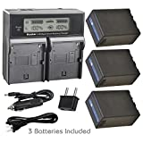 Kastar Battery 3 Pcs and LCD Dual Fast Charger for Sony BP-U90 BP-U95 BP-U96 BP-U60 BP-U65 BP-U66 BP-U68 BP-U30 BC-U1 BC-U2 Sony PMW-150P XDCAM EX HD422 PHU-60K PXW-Z450 PXW-Z190 PXW-Z280 Camcorder
