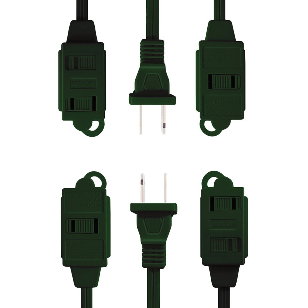 (2 Pack) Uninex Green 9ft 3 Outlet Polarized Household Extension Cord Sliding Safety Covers UL