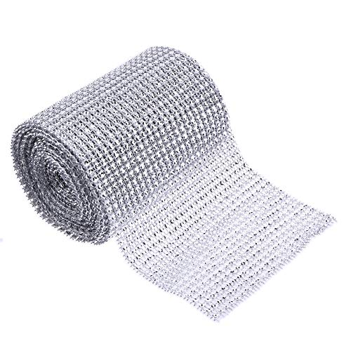 Roll Roll - 5 Yard Sparkle Mesh Trim Diamond Wrap Roll Rhinestone Silver Ribbons Wrapper Decoration - Shopkin Papers Er Ator Ing Smarter But Drum Bat Papera