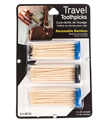 Items 4U Travel Toothpicks in Capped Containers, Renewable Bamboo, 50 Count, 3 Containers Total 150 Count