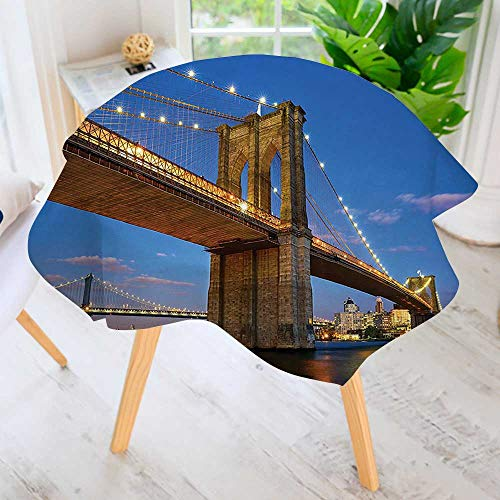 UHOO2018 Circular Solid Polyester Tablecloth-Collection Brooklyn Bridge at Twilight in New York City East River Modern Metropolis for Wedding Restaurant Buffet Table Decoration 40