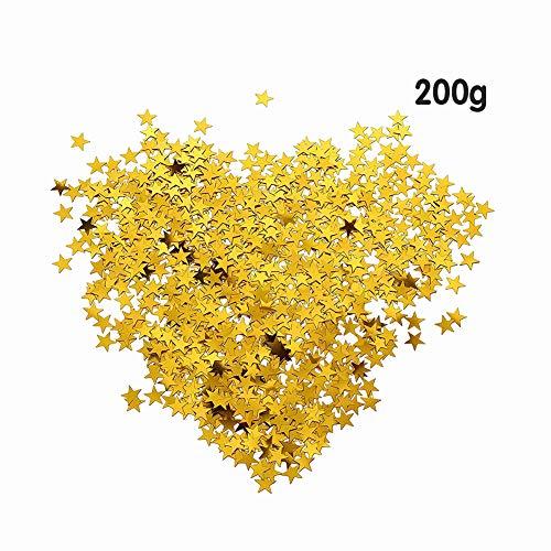 (200g Glitter Star Paper Confetti,Star Confetti Glitter Metallic Foil Stars Table Confetti for Birthday Party Wedding Festival Decorations,DIY Craft,Gold )