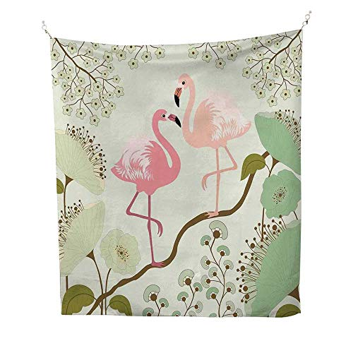 Peacockfunny tapestryBlossoming Floral Background with Pair of Flamingos on Tree Branch 60W x 80L inch Quote tapestryPale Green Pink Salmon