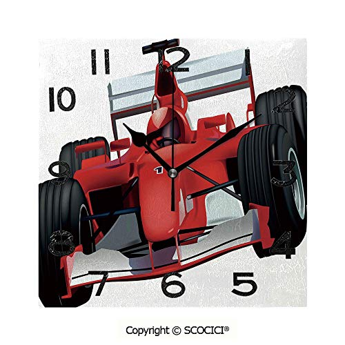 SCOCICI Frameless Clock 3D DIY Decorative Clock Formula Race Car with The Driver Automobile Motorized Sports Theme Strong Engine Decorative 8 Inch Large Size Square Wall Clock ()