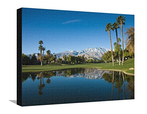 Pond in a Golf Course, Desert Princess Country Club, Palm Springs, Riverside County, California Stretched Canvas Print - 24 x 18 in (Desert Princess Country Club)