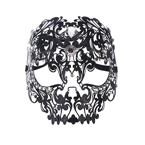 CharlyZhou's Shop Metal Material Delicate Gothic Evil Skull Lace Party Unisex Mens Mask Black