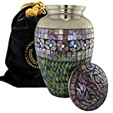6 urns for human ashes - Iridescent Mosaic Cracked Glass Brass Metal Funeral Cremation Urn for Human Ashes - Extra Large, Large and Keepsake (Large - Silver)
