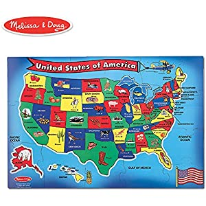 """Melissa & Doug USA (United States) Map Floor Puzzle (Wipe-Clean Surface, Teaches Geography & Shapes, 51 Pieces, 24"""" L x 36"""" W)"""