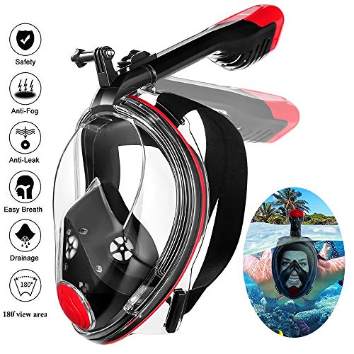 MOVTOTOP Full Face Snorkel Mask, Foldable Snorkeling Mask with Detachable Camera Mount, 180° Panoramic View Diving Mask Dry Top Set Anti-Fog Anti-Leak for Adults and Kids-Red (L/XL)