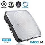 LEONLITE Dimmable LED Canopy Light Fixture, 70W (700W Equivalent), 5000K Daylight, 8400lm, UL & DLC Certified Waterproof, 5 Years Warranty