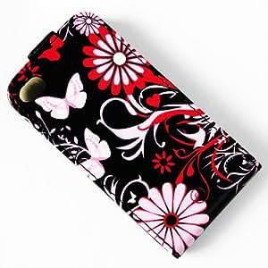 Flip Premium Monedero Bolsa De PU Cuero Funda Carcasa Cubrir La Piel Para Apple iPhone 5 5C Rosa flor mariposa NO.27
