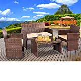 SUNCROWN Outdoor Furniture Brown Wicker Conversation Set with Glass Top Table (4-Piece Set) All-Weather | Thick, Durable Cushions with Washable Covers | Porch, Backyard, Pool or Garden