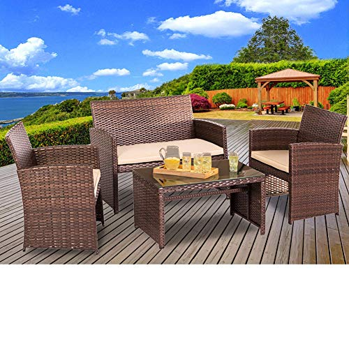 SUNCROWN Outdoor Furniture Brown Wicker Conversation Set with Glass Top Table (4-Piece Set) All-Weather | Thick, Durable Cushions with Washable Covers | Porch, Backyard, Pool or Garden All Weather Wicker 4 Piece
