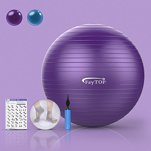 65cm Exercise Ball EXTRA THICK Frosted Surface 2200lb Capacity -Stability Ball, Yoga Ball, Birth Ball, Balance Ball, Pilates Ball, Fitness Ball -Includes: Yoga Socks, User Manual, Quick Pump