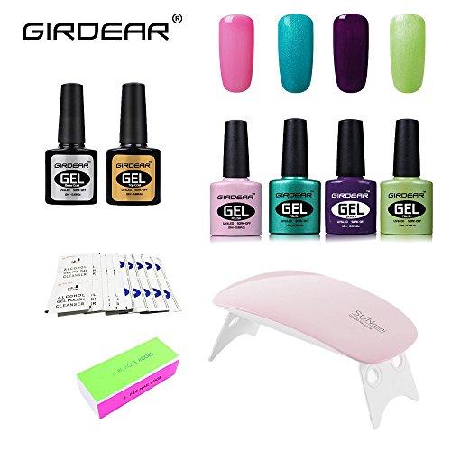 Girdear Soak Off Gel Nail Polish Kit, with SUNMini LED Lamp,