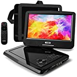 "SUNPIN Portable DVD Player 12.5"" for Car and Kids, 10.1 inch Eyesight Protective HD Swivel Screen, Stereo Speakers&Dual Earphones Jack, Support Sync TV/USB/SD Card, Car Headrest Mount Case,Black"