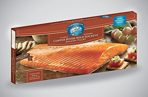All Natural, Copper River Wild Alaska Sockeye Smoked Salmon 1-pound Filet in Sealed Foil Pouch- Sustainable - No Refrigeration Necessary - Long Shelf Life
