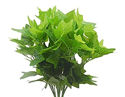 Artificial Plants, 4pcs Faux Plastic leaves Shrub Bouquet Simulation Greenery Bushes Indoor Outside Home Garden Office Wedding Decor (Sweet potato leaves)