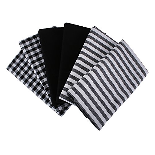 (Cotton Kitchen Towels With Super Absorbent, Set Of 6 (18 X 28 Inches) 2 Pieces Black & White Stripe,2 Pieces Black & White Check And 2 Pieces Solid)