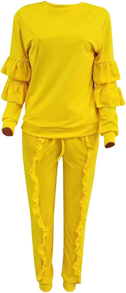 DINGANG Women 2 Pieces Outfits Long Sleeve Top and Long Pants Sweatsuits Set Tracksuits S3242-yellow