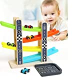 LVEA Wooden Ramp Racer Race Track Toy Car Vehicle Activity Playset with 4 Cars and Parking Garage for Toddlers Kids Boys and Girls 18 Months and Older