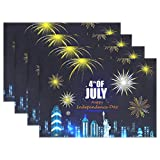 Top Carpenter 6pcs Independence Day of America Placemat - 12x18in - Washable Heat Crease Resistant Printed Place Mat for Kitchen Dinner Table