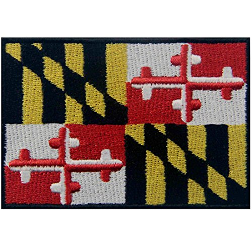 Maryland State Flag Embroidered MD Patch Iron On/Sew On Emblem