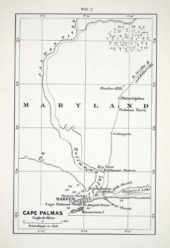 1906 Lithograph Antique Map Africa Cape Palmas Harper Maryland Hoffmann Russwurm - Original In-Text Lithograph