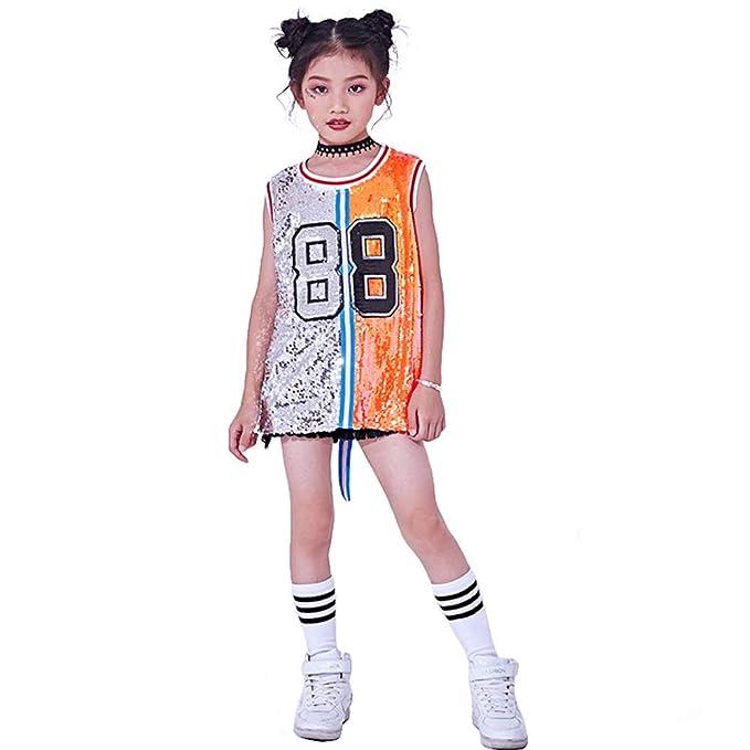 Traje de Lentejuelas para niñas Hip Hop Jazz Dancewear Sparkle Vestido sin  Mangas sin Mangas  Amazon.es  Ropa y accesorios 3868a7b0cac
