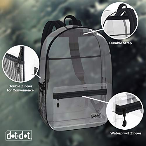 Large Heavy Duty Clear Backpack - See Through Transparent Bookbags For School, Concert - Pass Thru Security Quickly