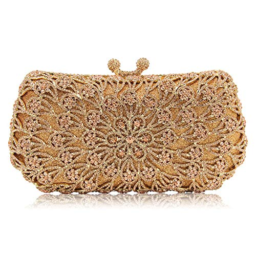 Gold Bagatelle Crystal - New Women gold Crystal Diamonds dinner day Clutches Luxury Evening Bag for Party Wedding clutch wallet,Orange
