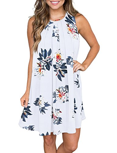 MEROKEETY Women's Sleeveless Floral Print Pleated Summer Loose Casual Mini Tank Dress White