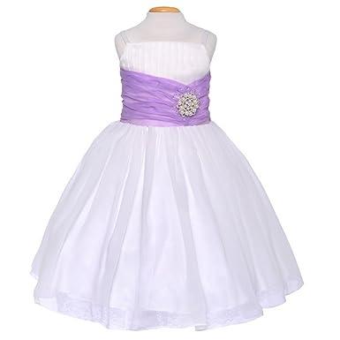 Amazon off white lilac ribbon broche sleeveless flower girl off white lilac ribbon broche sleeveless flower girl dress 4 mightylinksfo