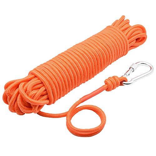 HomTop Magnet Fishing Rope with Carabiner - All Purpose Nylon High Strengte Cord Safety Rope - 65 Feet - Diameter 6mm - Approximately 1/4