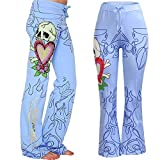 Farjing Pants Clearance Sale Women's Halloween Print Flowy Wide Leg High Waist Long Pants(M,Blue
