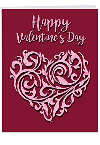 Vector Heart Happy Valentines Day Greeting Card with Envelope Jumbo 8.5 x 11 Inch - Pink, Swirly Heart and Wine Background Design - Stationery for Personalized Love Letter, Happy V-Day Gift J3492VDG ()