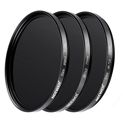 Neewer 3 Pieces 77MM Optical Glass Infrared IR Filter Kit for Sony Canon Nikon Olympus Pentax Panasonic DSLR Cameras, Includes IR720 IR760 IR850 Filters, Lens Cap and More from Neewer