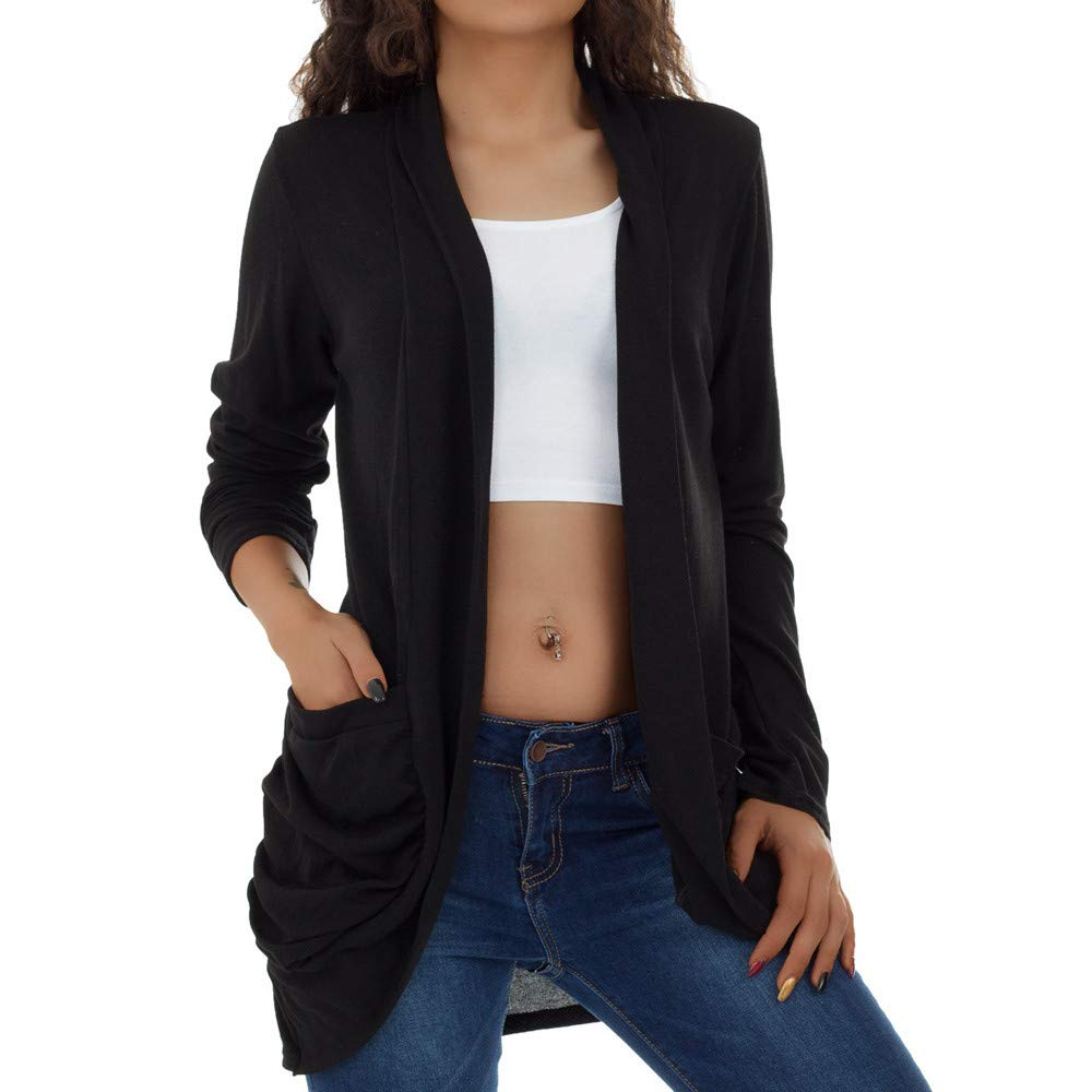 PENGYGY Women Casual Long Sleeve Open Pocket Front Loose Cardigan Coat Fashion Autumn and Winter Jacket