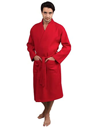 164f899772 TowelSelections Men s Waffle Weave Robe Cotton Spa Bathrobe Small Medium  Red at Amazon Men s Clothing store