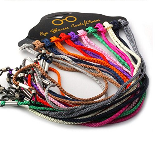 12 Pcs Set Colorful Nylon Braided Eyeglass Cord Reading Sunglass Neck Strap Eyewear Retainer Rope Holder (Eyeglass Cord)