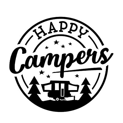 CCI Happy Campers Stars Camper Stars Decal Vinyl Sticker|Cars Trucks Vans Walls Laptop|Black |5.5 x 5.25 in|CCI2014: Automotive