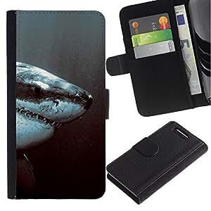 """A-type (Tiburón Blanco Jaw"""") Colorida Impresión Funda Cuero Monedero Caja Bolsa Cubierta Caja Piel Card Slots Para Sony Xperia Z1 Compact / Z1 Mini (Not Z1) D5503"""