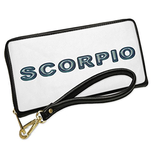 Wallet Clutch Scorpio Blue Green water like Glass with Removable Wristlet Strap Neonblond
