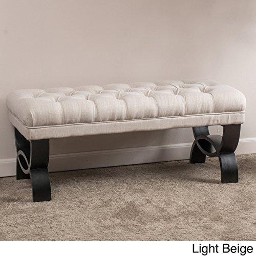 Scarlette Tufted Fabric Lavish Ottoman Bench, Crossed Design, Espresso-finish Legs, Polyester-linen Blend (Light Beige)