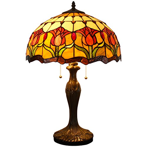 Tiffany Style Table Desk Beside Lamp 24 Inch Tall Tulip Flower Design Cream Stained Glass Lamps Shade 2 Light Antique Zinc Base for Living Room Bedroom Set W16 inch S030 WERFACTORY