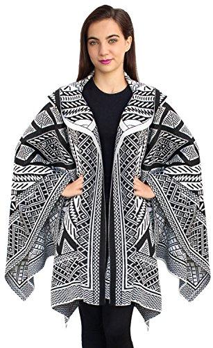 Women's Superfine Alpaca Wool Hooded Knitted Ruana Hoodie Cape Wrap (Ivory & Black)