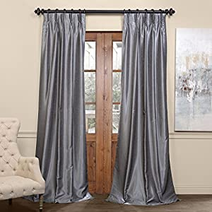 HPD HALF PRICE DRAPES PDCH-KBS7BO-96-FP Blackout Vintage Textured Faux Dupioni Pleated Curtain, 25 X 96, Storm Grey
